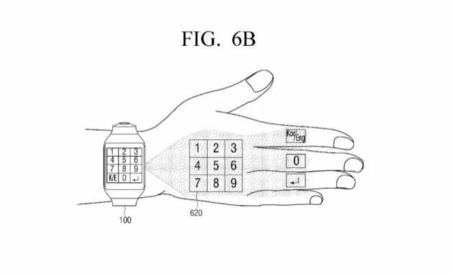 Samsung brevetta uno smartwatch a tastiera proiettabile