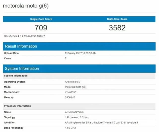 Moto G6 benchmark