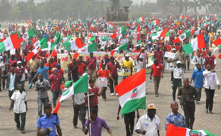 Image result for Labour union invades presidential villa, insists on N30,000