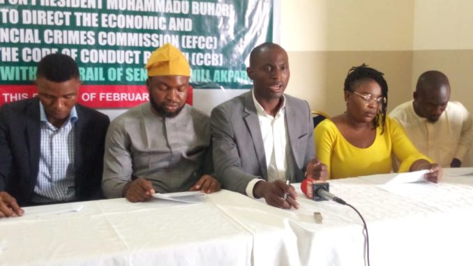 •Members of the CSOs addressing the media on non prosecution of corrupt persons in Nigeria