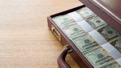 A briefcase filled wih banknotes