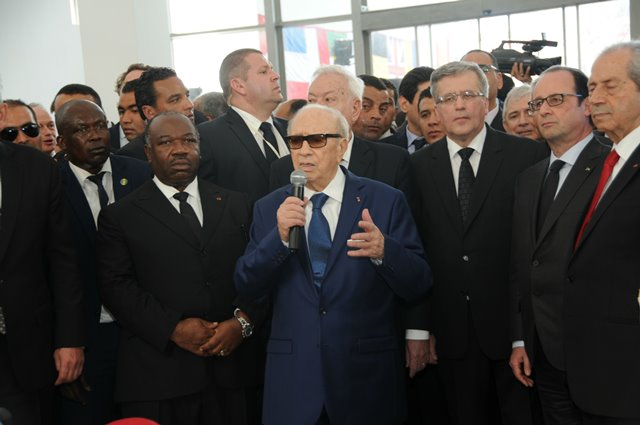 Tunisian President Beji Caid Essebsi(C) delivers a speech at Bardo museum in Tunis, Tunisia, on March 29, 2015. Tunisia held an international anti-terrorism march entitled