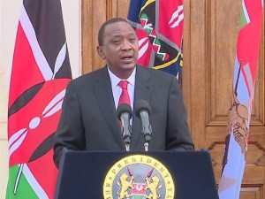 The clip of video provided by Kenyan State House shows that Kenya's President Uhuru Kenyatta delivers a statement after a terrorist attack at a local university in Garissa, Kenya, on April 2, 2015. Uhuru Kenyatta said Thursday security had been stepped up along the border with Somalia and appealed to Kenyans to be extra vigilant and take security measures seriously. (Xinhua)