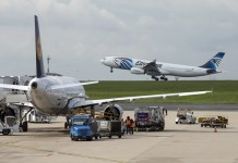 Photo taken on May 19, 2016 shows an airplane of EgyptAir taking off at the Charles de Gaulle Airport, in Paris, France. Egypt's Foreign Ministry confirmed to Egyptian Civil Aviation Ministry that wreckages of the missing airplane were found near the Greek Island of Karpathos, EgyptAir said on Thursday. Earlier in the day, EgyptAir said the missing plane, an Airbus A320, disappeared from radar screens en route from Paris to Cairo Thursday at 2:45 am Cairo local time (0045 GMT), with 66 people aboard. (Xinhua/Pierre Andrieu)
