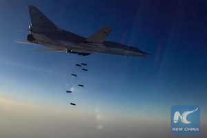 A Tupolev Tu-22M3 Backfire long-range bomber hits ISIS targets in Syria's Aleppo, Deir Ez Zor and Idlib governorates. Best possible quality. (Sputnik Photo)