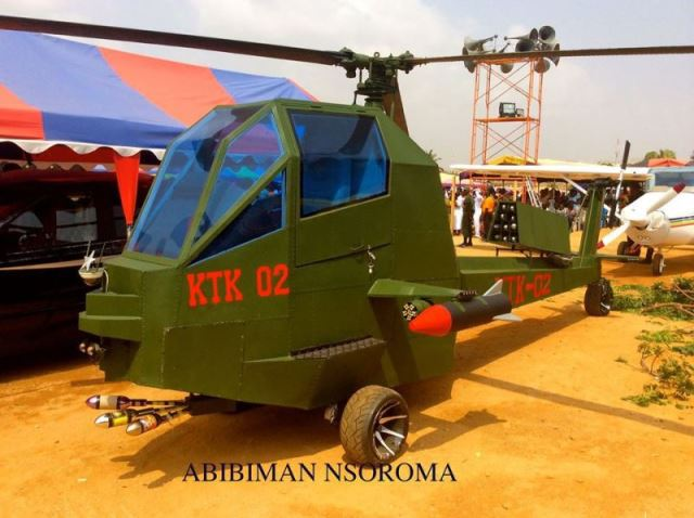 Safo's helicopter, to give context to Kantanka's claims regarding the state of their production capability. Image via Africa Arm Magazine.