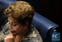 Suspended Brazilian President Dilma Rousseff attends a Senate impeachment trial in Brasilia, Brazil, Aug. 29, 2016. Brazilian leader Dilma Rousseff, twice elected president as the candidate of a left-leaning alliance led by the Workers' Party (PT), will undergo one of the most critical moments of her political career. (Xinhua/Li Ming)