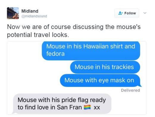 Twitter post about a mouse on the plane