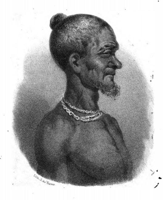 Drawing of Badu Bonsu II made by a Dutch lieutenant, 1838