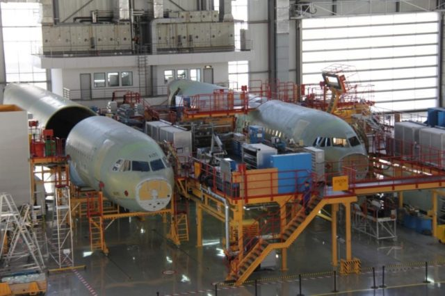 Photo shows the Tianjin center where A320 family aircraft are assembled. (Photo by Li Yingqi from People's Daily)