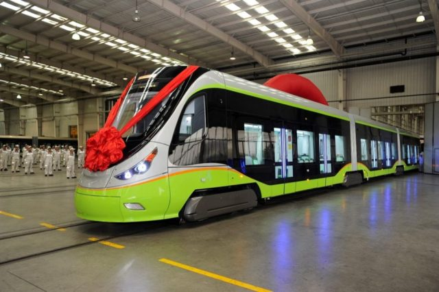 The world's first autopilot tramcar rolls off the production line of CRRC Qingdao Sifang Co., Ltd., on July 28, 2017. The tramcar would be put into trial operations in the southern Chinese city of Foshan. (Photo by People's Daily)