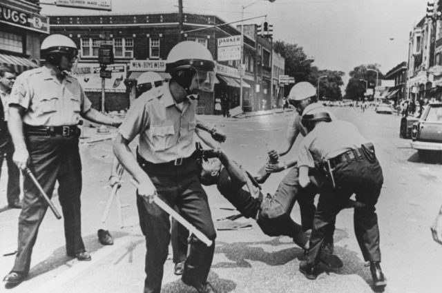 Male carried away by police during riots, Baltimore, Maryland, 1968. (Photo by Afro American Newspapers/Gado/Getty Images)