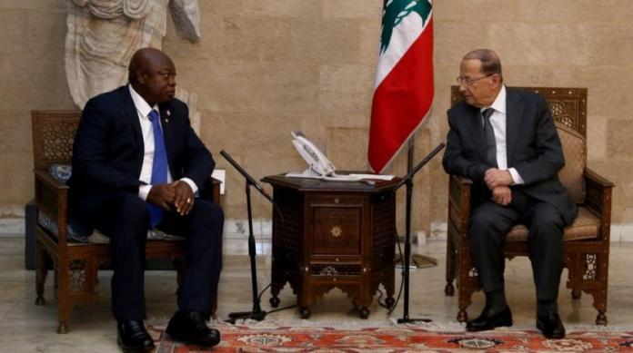 President Michel Aoun meets Guinea-Bissau's Speaker Cipriano Cassama, Jan. 8, 2019.   Dalati Nohra