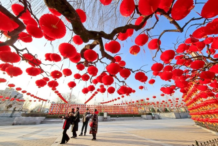 Beijing's Daguanyuan (Grand View Garden) is decorated with red lanterns for the Chinese New Year on Jan.12, 2020, creating a strong festive atmosphere. Photo by Liu Xianguo from People's Daily Online