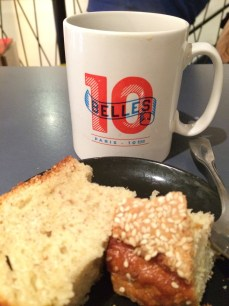 Filter coffee and banana bread (avec sesame seeds!) at Ten Belles coffee by Canal Saint-Martin