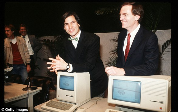 Steve Jobs unveils Apple Computer Corporation's new Macintosh February 6, 1984 in California.