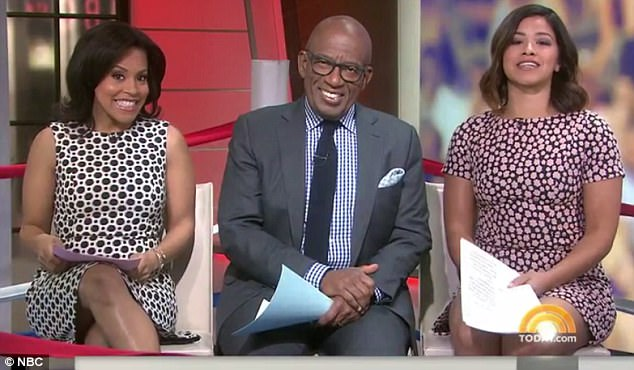 Pressing issues of Today: Gina Rodriguez (right) was a guest host on the Today show with Shienelle Jones and Al Roker on Monday