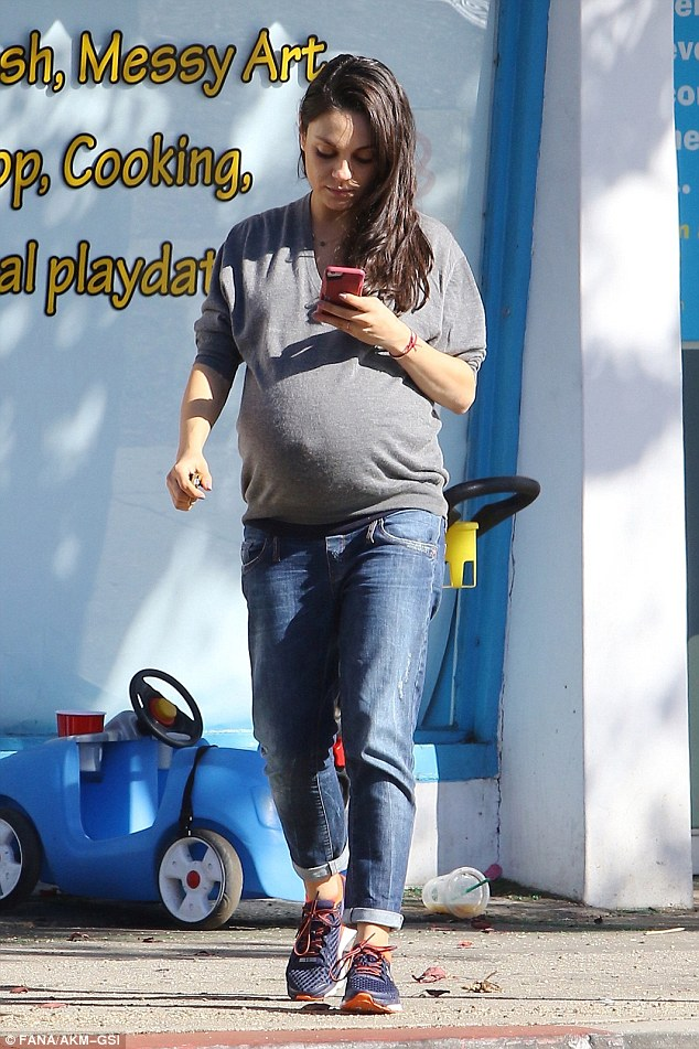 Almost time!Mila Kunis looked almost ready to pop as she showed off her baby bump in Studio City on Tuesday