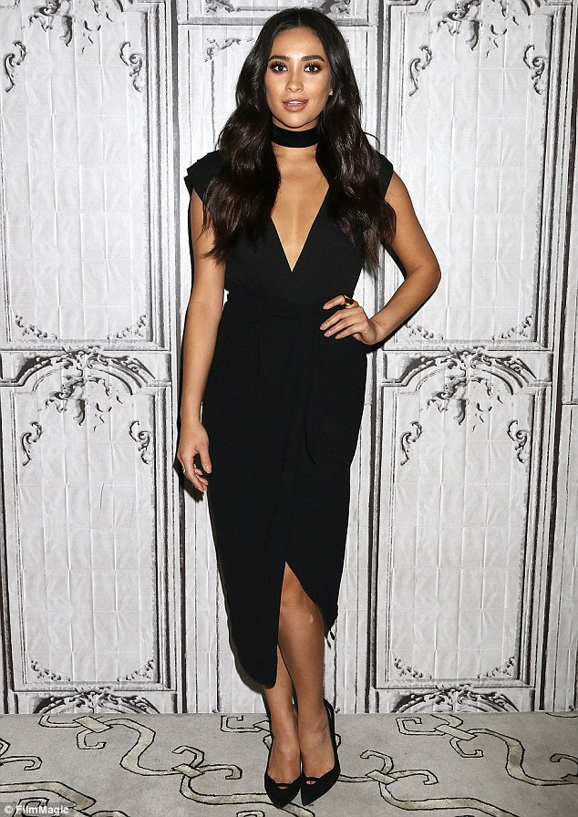 Killing it:Shay Mitchell showed off her ladylike physique in a plunging dress as she attended an AOL Build Speaker Series for her upcoming film Mother's Day Monday in NYC
