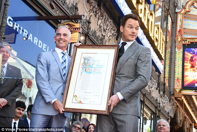 Proud man: Pratt looked happy at his Walk Of Fame celebration