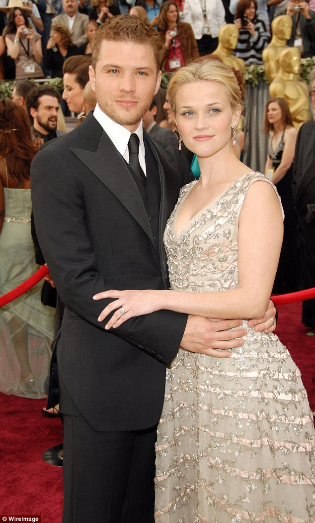 Still friends: Ryan was previously married to Reese to whom he was wed for eight years before their divorce in 2007. They share Ava and Deacon, 13