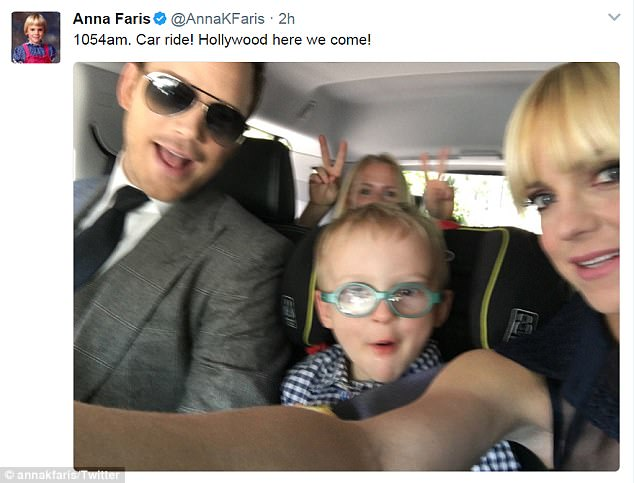 On their way! The family all posed for a selfie on the way to the premiere