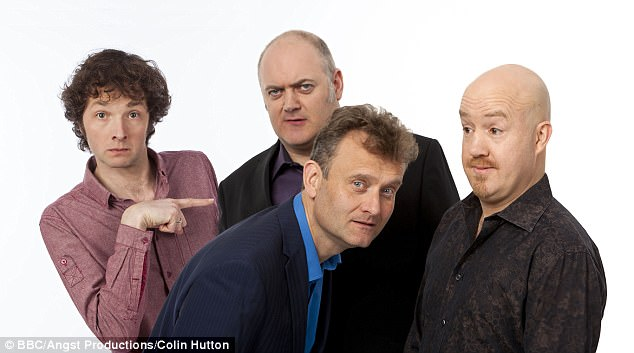 Multi-hyphenate: Chris is also an actor, who has appeared on Dr Who and The Week (pictured here) in which Chris (left) played alongside with Dara O'Briain, Hugh Dennis and Andy Parsons