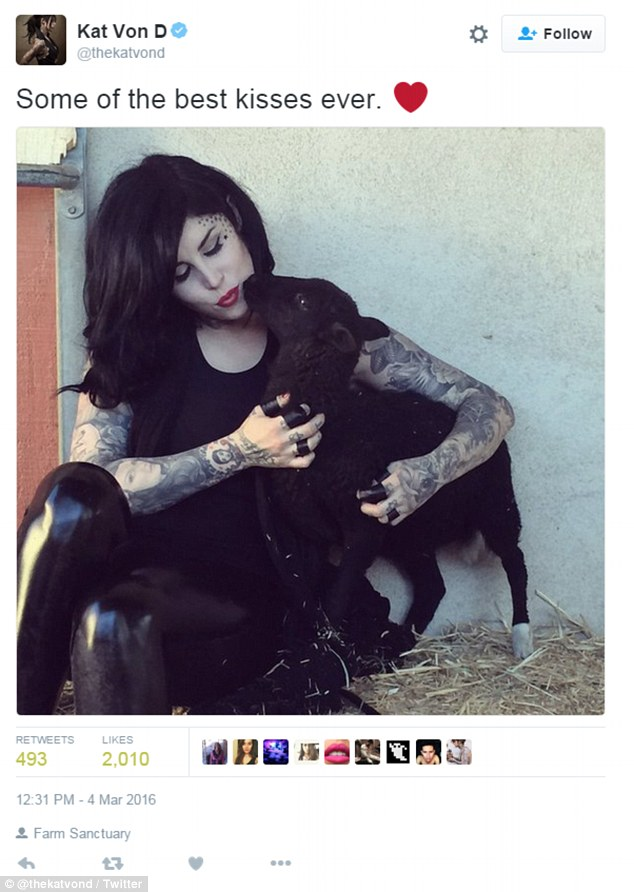 Just a few days after the photoshoot, Von D tweeted a photo of herself cuddling a young black lamb, writing in the caption: 'Some of the best kisses ever'. She later asked the organization if she could come back on her birthday