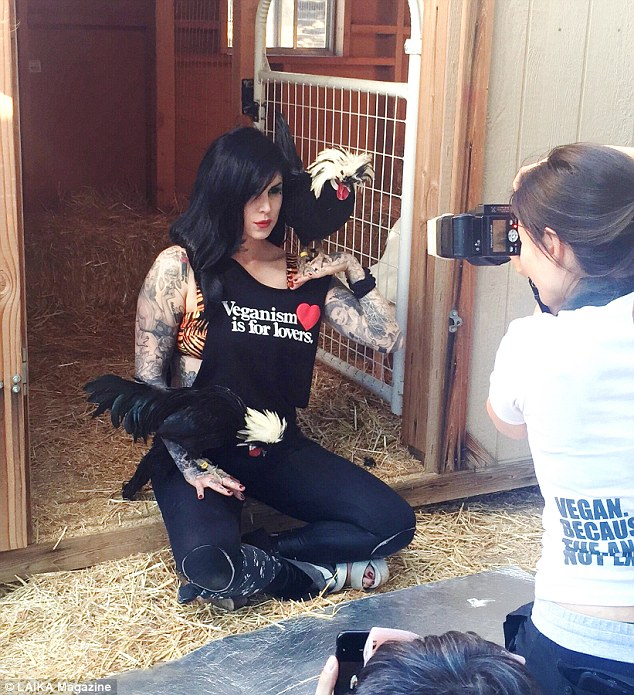 Von D, pictured during the photoshoot for LAIKA magazine at Farm Sanctuary, sells makeup that hasn't been tested on animals and highlights items that don't contain animal products or by-products on her website