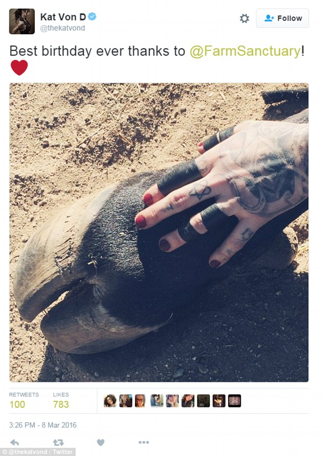Von D, who turned 34 earlier this month, spent her birthday volunteering at Farm Sanctuary. She later posted this photo of her hand on an animal's hoof, saying she had spent the best birthday ever