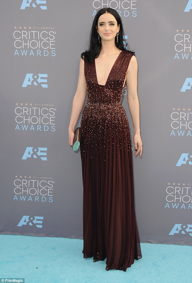Quick change: Later she was seen in a stunning frock at the Critics Choice Awards