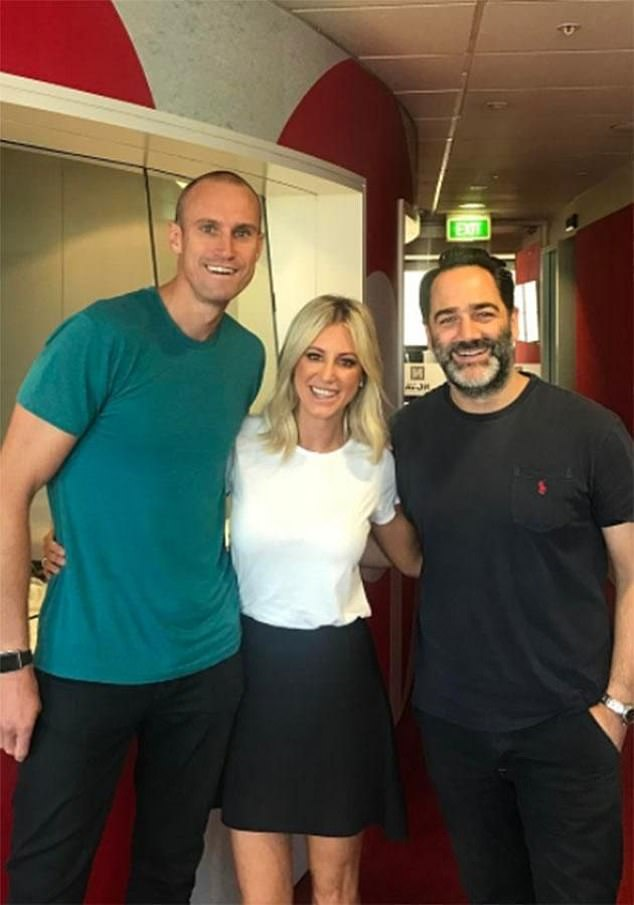 Sydney movers and shakers: It's believed the production company behind Roxy's (centre) new reality series is Two Basic Scoops, which is run by Michael 'Wippa' Wipfli (right) from Nova 969's breakfast radio show, Fitzy (left) and Wippa