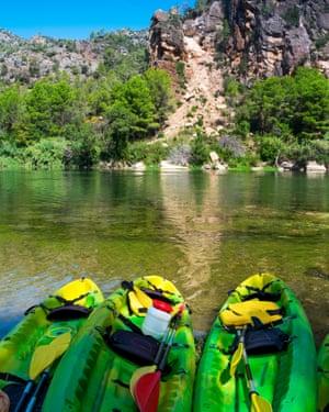 Kayaks on the Ebro River