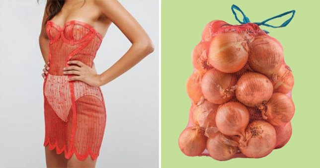 On the let, the ASOS dress. On the right, a sack of onions.