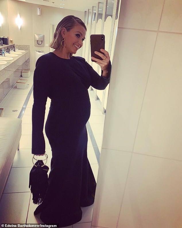 Bumping along: Edwina has revealed how pregnancy changed her body very early in her pregnancy while also sharing her fertility struggles. Pictured at the Logies on Sunday at four months pregnant