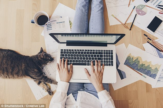 Those who work from home put in more hours than if they were in the office and are more likely to go above and beyond what is required (stock image)