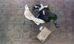 This April 1994 photo provided by Seattle police shows items found at the scene of Kurt Cobain's suicide
