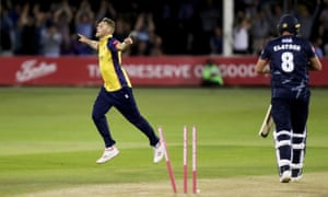 Jamie Porter celebrates taking the wicket of Mitchell Claydon during a match-winning performance against Kent.