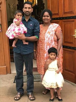 Tamil asylum seekers husband and wife Nadesalingam and Priya and their daughters Dharuniga and Kopig