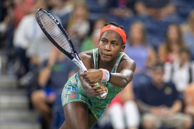Cori Gauff hits a backhand during her latest US Open win