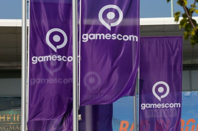 Flags with the gamescom logo in Cologne, Germany