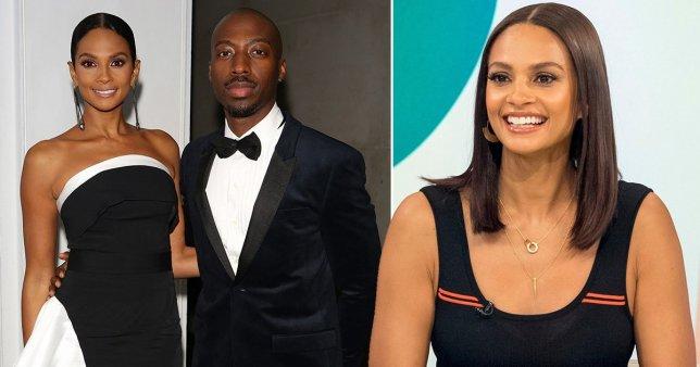 A split image of Alesha Dixon and her husband Azuka Ononye and Alesha Dixon appearing on Loose Women.