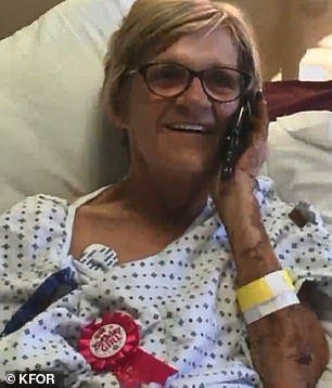 Kathy Roberts, 60, from Tuttle, Oklahoma, first developed flu-like symptoms like fatigue in October 2018.Pictured: Roberts in the hospital