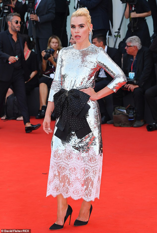The night before: Billie looked sensational on Thursday night as she walked the red carpet for the Marriage Story premiere at the Venice Film Festival