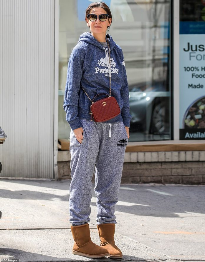 Dressing for comfort: A month prior, she could be spotted accessorizing with her red Chanel purse while keeping cozy in sweats that advertised Park City, Utah, home of the Sundance Film Festival