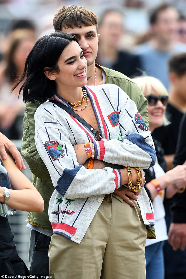 Music festival date: Last month, the British singer appeared to confirm her romance with Anwar at the British Summer Time festival in London's Hyde Park (pictured)