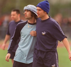 Liam Gallagher and Damon Albarn at a charity football tournament in 1996.