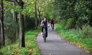 Cyclists using the Deeside way