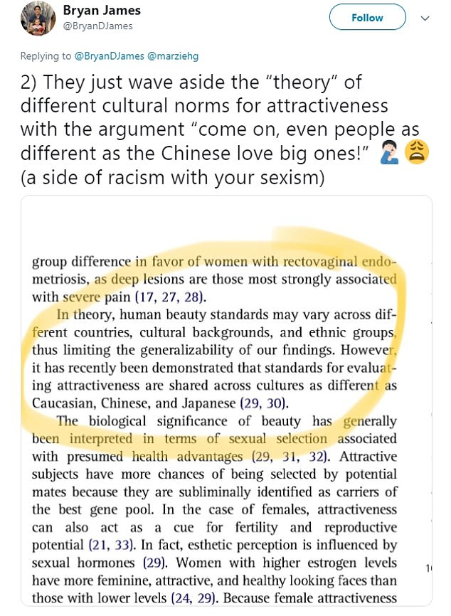 """Dr James said the researchers 'just wave aside the """"theory"""" of different cultural norms of attractiveness'"""