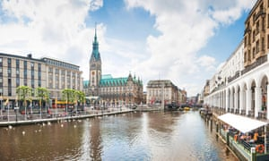 Beautiful view of Hamburg city center with town hall and Alster river, Germany.